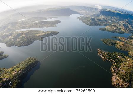 Dam Waters Aerial View Birds Eye
