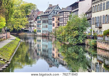 Colorful Traditional Houses Reflecting In River Ill In Strasbourg
