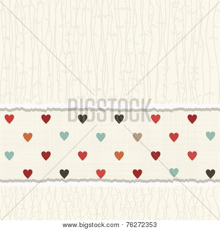 Vintage Card With Colorful Hearts On Texture Background