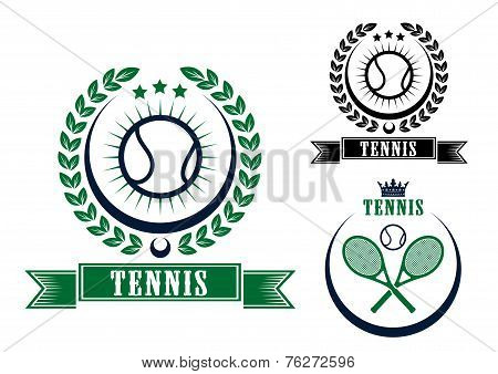 Tennis sports emblems or badges