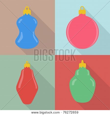 Set Of Four Christmas Baubles