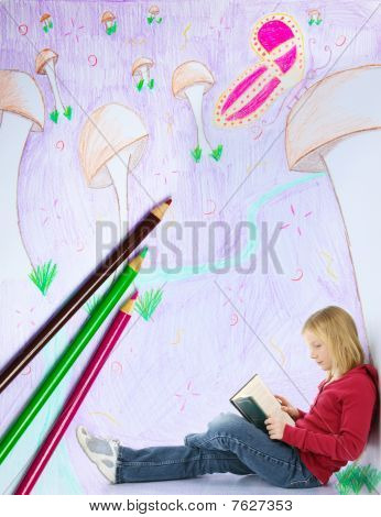 Girl Reading In Imaginary World