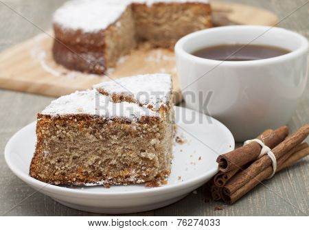 Rusks Pie With Cinnamon And Powdered Sugar.