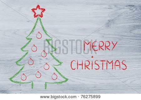 Christmas Tree With Holiday Wishes