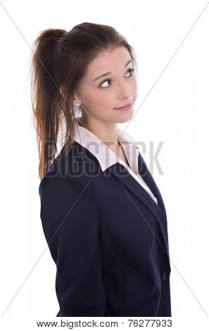 Young isolated pretty pensive businesswoman thinking about her future looking sideways.