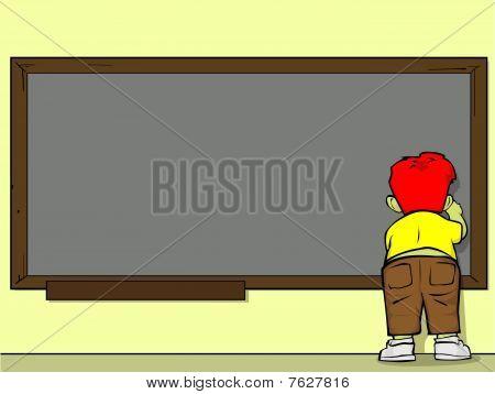 kid on blackboard