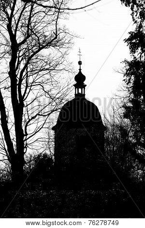 Silhouette View Of Glockenturm Tower On Schlossberg Hill, Graz
