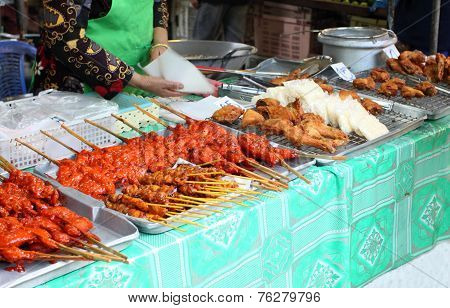 Thai Meat At Street Market, Krabi