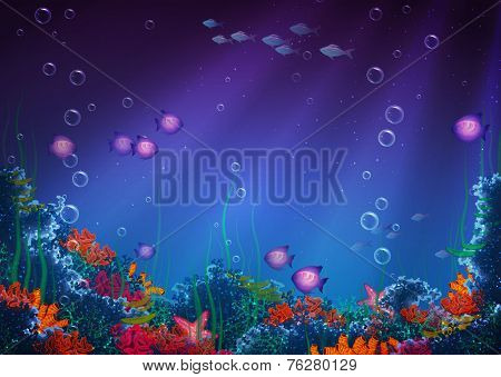 Background with underwater cave