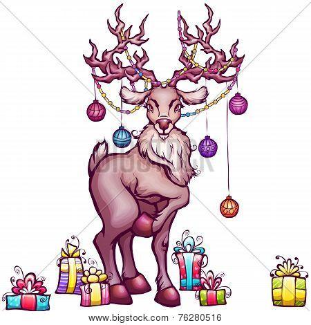 Illustration of Christmas deer in cartoon style