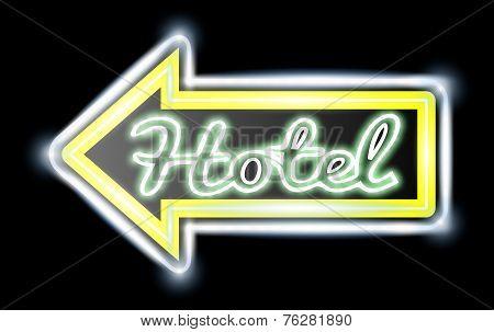 Retro American neon motel roadsign.