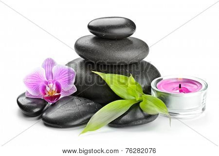 spa concept zen basalt stones and orchid isolated on white