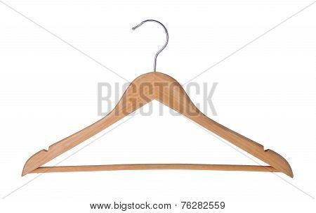 Hanger. Wood Coat Hanger On Background