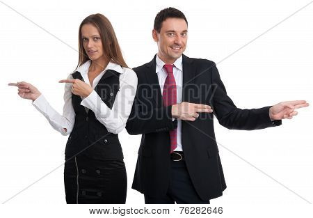 Business People Pointing In Different Directions