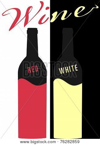 Bottle of wine red and white vector image. Flat