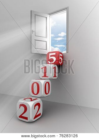 New Year 2015 Dice Step Door