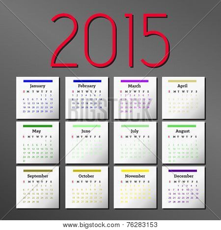 Simple 2015 Calendar. calendar design.