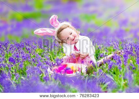 Little Girl At Easter Egg Hunt