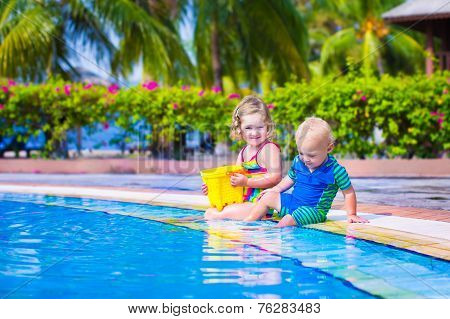 Kids At A Swiming Pool