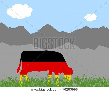 Cow Alp And German Flag