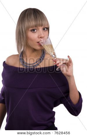 Woman Drinking White Wine.