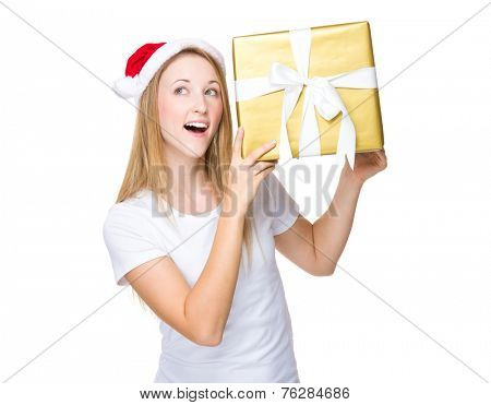 Xmas girl hold with large present box