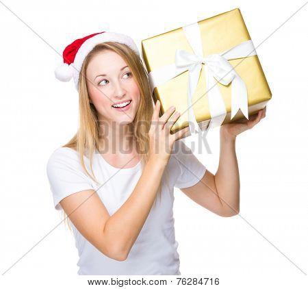Xmas girl hold with big present box