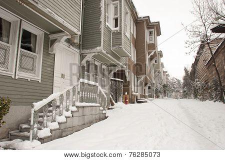 Snowy Street In Istanbul