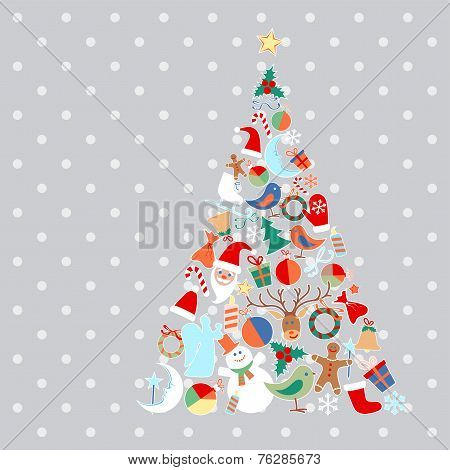 Vector Christmas tree with toys and objects