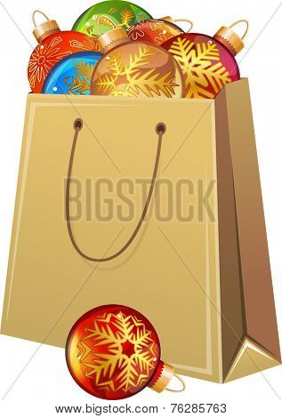 Cardboard packet full of Christmas glass balls. Vector illustration.