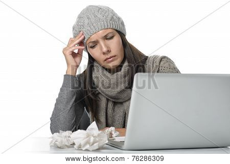 Young Businesswoman With A Seasonal Cold And Flu