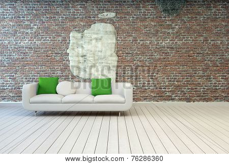 3D Rendering of White Couch with White and Green Pillows at Cozy Living Room Area with Abstract Design on Vintage Brick Wall Background and Off White Wooden Flooring.