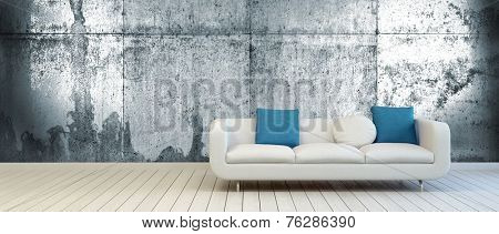 3D Rendering of Elegant Couch with White and Blue Green Pillows on an Empty Living Room with Vintage Metal Wall Background and Off White Wooden Floor.