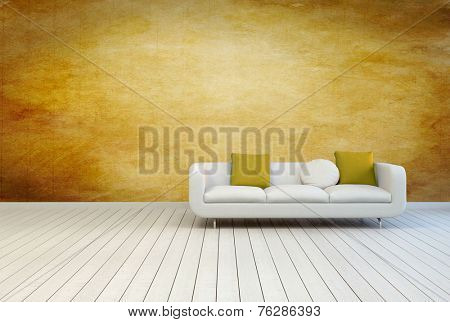 3D Rendering of White Couch Furniture with Pillows on an Empty Architectural Room with Wooden Wall and Off White Floor.