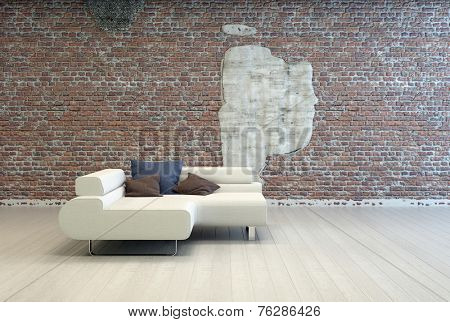 3D Rendering of Elegant Living Room Sofa with Dark Blue and Gray Sofa on Vintage Brick Wall Background with Abstract Design.