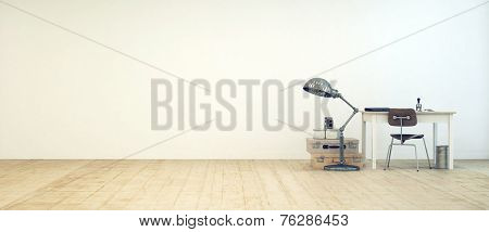 3D Rendering of Student workspace in a minimalist room with a small table, chair, freestanding lamp, waste paper basket and vintage suitcases against a white floor with a wooden floor, and copy space