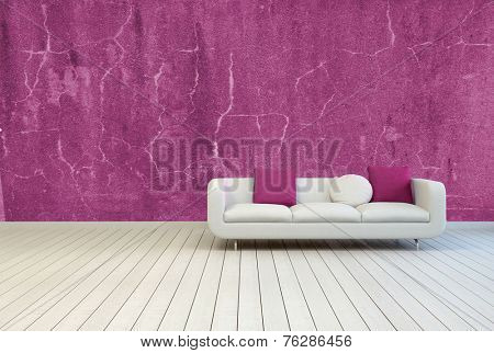 3D Rendering of Single Couch with White and Red Violet Pillows on an Empty Living Room with Old Red Violet Wall and Off White Wooden Floor.