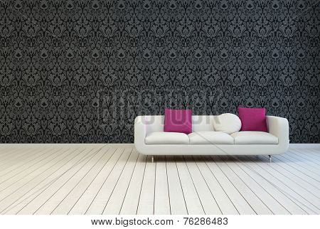 3D Rendering of Single White Couch with White and Red Violet Pillows on an Empty Architectural Room with Artistic Black Floral Pattern Wall Design and Wooden Floor.