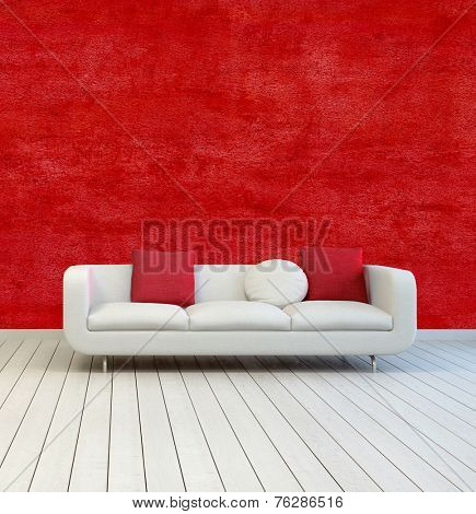 3D Rendering of White Sofa with Red and White Pillows on an Empty Room with Red Wall Background and Off White Wooden Floor.