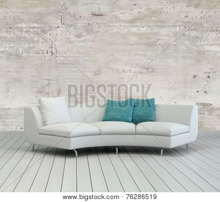3D Rendering of Elegant White Couch with White and Green Pillows on an Empty Living Room with Unfinished Concrete Wall Design.