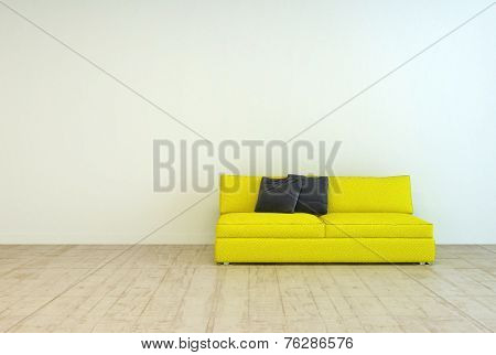 3D Rendering of Yellow Couch Furniture with Black Pillows on an Empty Living Room with Off White Wall Background and Wooden Floor Design.