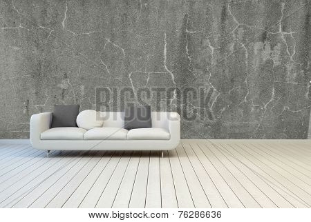 3D Rendering of White Couch with Gray and White Pillows on Empty Vintage Living Room with Gray Concrete Wall and Off White Wooden Floor Design.