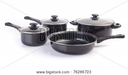 Set Of Cook Pan On White Background