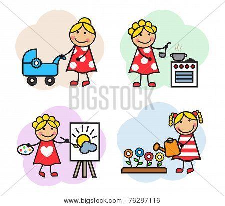Cartoon woman hobby