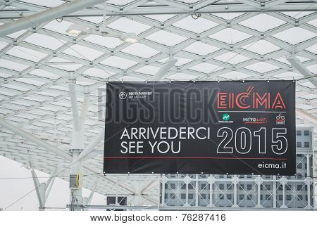 Exhibition Sign At Eicma 2014 In Milan, Italy