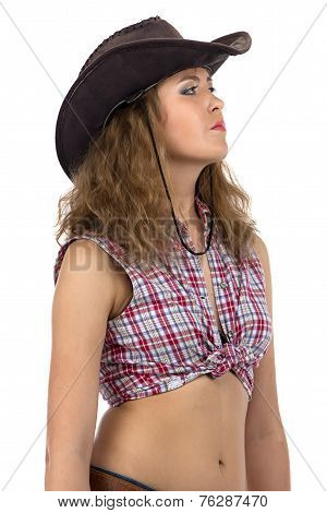 Photo of cowgirl looking into the distance