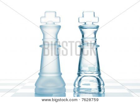 Chess Glass Transparent Kings Isolated On White
