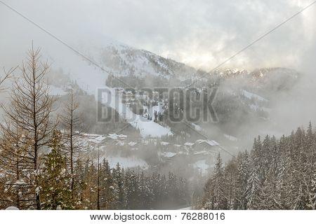 Fog Over Ski Resort