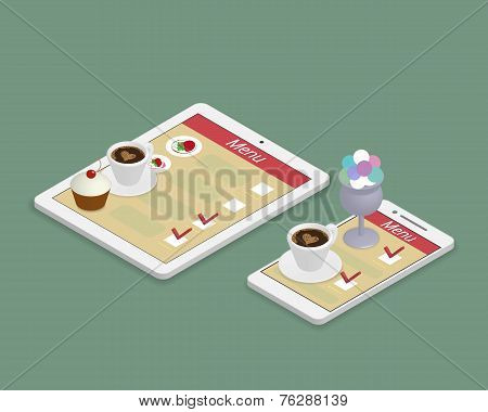 Ordering food using gadgets in restaurant