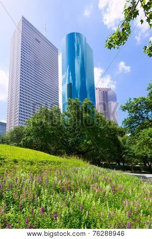 Houston skyline from Tranquility Park in Texas US USA